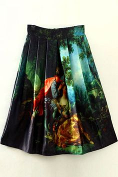 $23.99 | Green Oil Painting Print A Line Midi Skirt | Psychedelic Monk