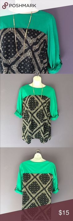 "Westbound Woman Green & Black Top This casual shirt is perfect for any occasion.  Wear with jeans, black pants or leggings.    Material:  100% Cotton.  Measurements:  Length - 31""/Bust - 28""/Waist - 27.5"" Westbound Woman Tops"