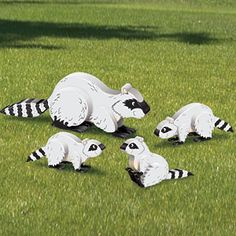 """3D Raccoon Family Pattern.  Who can resist these adorable little critters. Goes great with our 3d Skunks #2051 and our 3d Rabbits #2126 Largest is 13""""H x 35""""W.  Pattern #2170  $11.95  ( crafting, crafts, woodcraft, pattern, woodworking, yard art, animal ) Pattern by Sherwood Creations"""