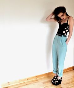 Topshop Caged Bodice, American Apparel High Waisted Trousers, Topshop Caged Wedges