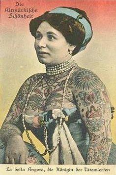Tattoo Lady, Vintage Tattoos, Circus Tattoos, Lady Tattoo, Tattooed Circus, Tattooed Ladies, Body Tattoo, 1800 S Tattoos