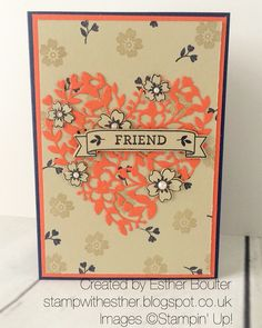 GDP033 colour challenge. Esther Boulter - stamp with Esther Stampin' Up! Bloomin heart.