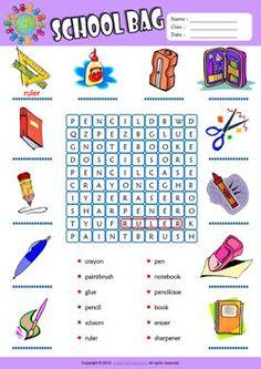 Schoolbag ESL Printable Worksheets For Kids