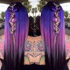 Purple hair color and exquisite boho braid by Stephanie Geib. festival hair messy braid purple color melt hotonbeauty.com