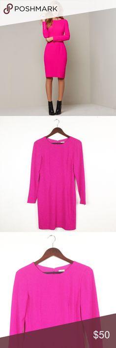 951e24a09383e CREMIEUX BARI LONG SLEEVE SHEATH DRESS Cremieux hot pink  Bari  Long sleeve  Dress Gold