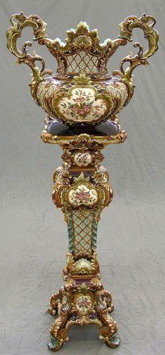 majolica pottery - WILHELM SCHILLER & SON - Bohemia. Majolica Jardiniere on Stand, 19th c.