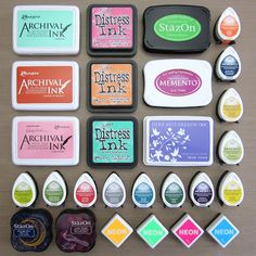 Great guide to stamping inks!! Mini Gelli® Stamping with Ink Pads!  Examples of dye ink pads:  Ranger Distress Ink and Archival Ink.  Tsukineko StazOn and Memento Dye Ink. Hero Arts Shadow Ink and Neon.