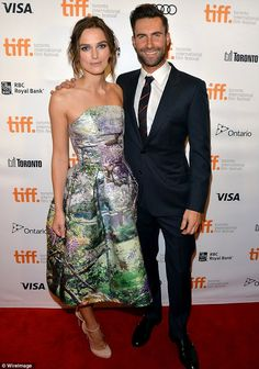Keira posed on the red carpet alongside her co-star Adam Levine