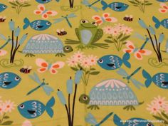 Flannel Fabric  Pond Life on Green Frogs Turtles and by SnappyBaby