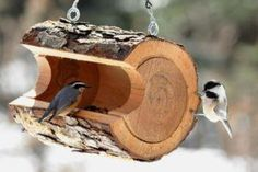 Birdfeeder - picture only, but it doesn't look too hard to make. Great way to use the wood from the old tree I cut down.