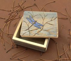 Rustic Small Wooden Keepsake Box ..with Etched Dragonfly ..reclaimed Wood…