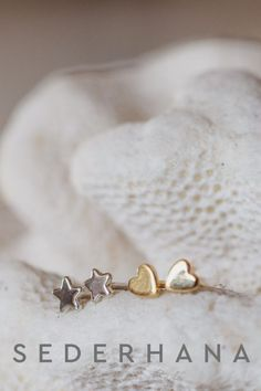 Let your inner star shine with our most popular earrings! These little stars can be worn alone or in combination with our heart studs and look great on every ear, on every girl. #earrings #simplejewellery #sederhana