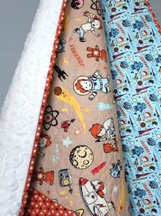 Rocket Age Baby Boy Minky Quilt This quilt is completed and ready to ship to you! This modern baby boy quilt features an adorable, retro- style