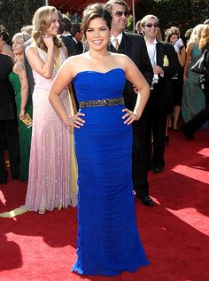 America Ferrera showed off her killer curves in a Monique Lhuillier dress at the Emmys in 2007. Ferrera accessorized with Lorraine Schwartz jewels.
