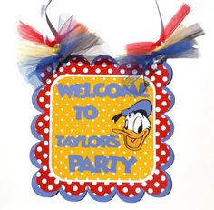 Door Sign Personalized Donald Duck Theme Happy by ScrapsToRemember