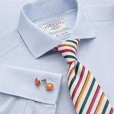Charles Tyrwhitt Sky Hairline Stripe Non-Iron Cutaway Slim Fit Shirt