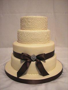elegant square wedding cakes | ivory and brown wedding cake | Flickr - Photo Sharing!