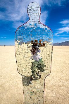 I'm all broken up. Art Mosaic by Michael Emery - Burning Man 2006 Black Rock City, Nevada Land Art, Mosaic Art, Mosaic Glass, Mosaic Mirrors, Mosaic Bathroom, Mirror Tiles, Stained Glass, Burning Man Art, Burning Man Sculpture