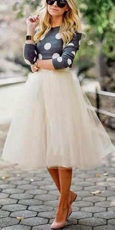 Polka Dot Sweater & a Tulle Skirt