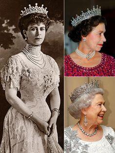 Queen Mary and Queen Elizabeth II wearing Queen Mary's 'Girls of Great Britain & Ireland' Tiara.