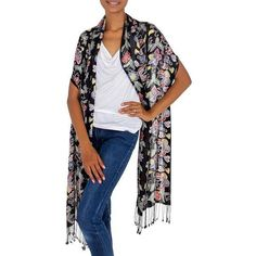 NOVICA Balinese Black Silk Hand Stamped Floral Batik Shawl (€27) ❤ liked on Polyvore featuring accessories, scarves, black, clothing & accessories, shawls, floral scarves, floral shawl, floral print scarves, wrap shawl and silk scarves
