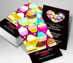 Colorful Cupcakes Vertical Business Cards This great business card design is available for customization. All text style, colors, sizes can be modified to fit your needs. Just click the image to learn more! | bizcardstudio.co.uk