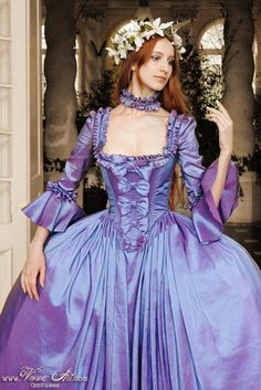 Rococo ball gown in lilac changeant.