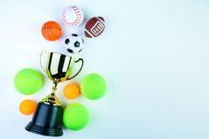 golden trophy football toy baseball toy ping pong ball tennis ball