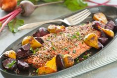 Spice-Crusted Roast Salmon with Ginger Beets by wholefoods #Salmon #Beets