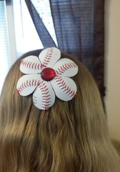 851acfc08 Baseball Flower Hair Bow~ Made from Real Baseballs! by riderswoodcreations  on Etsy Flower Hair