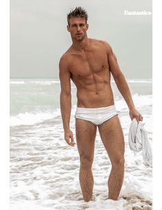 Men's swim trunks- trend white . - Develop the sexual presence of a model! Click the pic.