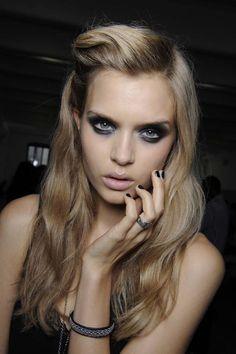dark eyes & nails, light lip, blonde hair