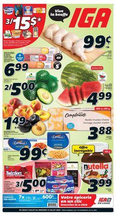 Circulaire IGA du 9 au 15 Juillet 2020 Supermarket Design, Sale Banner, Cheddar, Nutella, Sausage, Cereal, Mac, Breakfast, Food