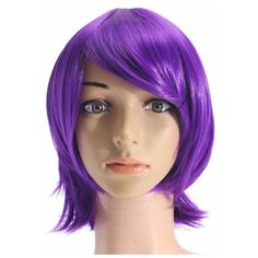 Anime Purple Short Full Wig Cosplay Party Straight Hair Full Wigs... ($8.01) ❤ liked on Polyvore featuring beauty products, haircare, hair styling tools, hair, hair blow dryer, curling iron, blow dryer, hair dryer curling iron and curling iron blow dryer