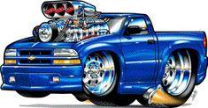 Muscle Trucks Cartoon Drawings | 2000 chevy s10 pickup cartoon