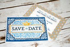 Spanish Tile Talavera Save The Date Print in Orange & Blue. Spanish Tile Inspired Postcard
