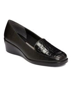 5bbda8a4fe799 Black Croco Tempting Loafer by A2 by Aerosoles