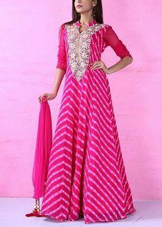 Pink Georgette Anarkali Suit #shop #handcrafted #anarkali #suits #shop #vasansi #jaipur