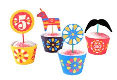 {cinco de mayo: ready to party?} you will with these pretty cupcake and toppers from @Ellen Deakin from HappyThoughtsUK -- thank you!