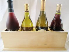 Birch Wood Wine Box holds 4 bottles wine. The natural white wood is gorgeous. https://www.etsy.com/listing/112617373/birch-wood-wine-box-wine-bottle-holder?ref=shop_home_active #wine #winebox #homedecor #birchwood #gift