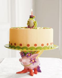 Patience Brewster Cake Plate & Frog Topper - Horchow