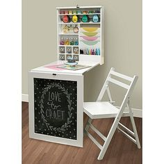 Memory Keepers Hanging Fold-Down Craft Table Furniture Storage Cubbies Kids