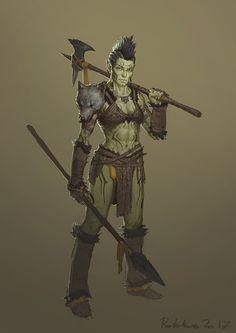 f Barbarian Battle Axe Spear underdark wilderness jungle lg Fantasy Races, High Fantasy, Fantasy Women, Fantasy Rpg, Orc Warrior, Fantasy Female Warrior, Character Portraits, Character Art, Half Orc Barbarian