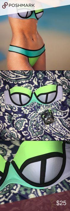 • Victoria Secret colorblock flirt bandeau • Victoria secret colorblock flirt bandeau. Size 34B. Purple, green & blue. Victoria's Secret Swim Bikinis