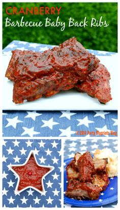Fourth of July Party  Recipes Cranberry BBQ Ribs America's Original Superfood #UScranberries