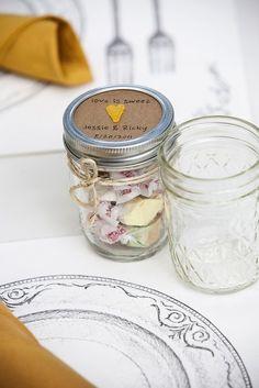 Mason jars with salt water taffy?  A taste of the coast for a texas wedding??