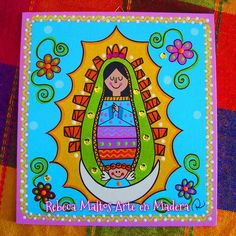 Virgen de Guadalupe Madona, Mother Mary, Image House, Virgin Mary, Our Lady, Folk Art, Religion, Cross Stitch, Doodles