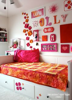 Loving with Her Hands - A Tribute to My Mom.  Lovely Pink and Orange girl's room.
