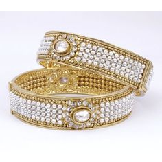 Gold Plated Bangles Encrusted With Pearl Beads 03