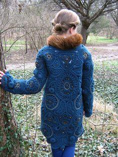 """Купить Пальто """"Emerald queen"""" - однотонный, вязанное пальто, ирландское кружево, пальто с мехом"""